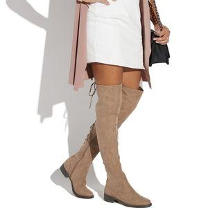 Shoedazzle | OTK Megan Flat Boots | Taupe, grey